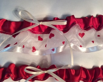 Red and white heart Garter set