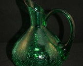 """Emerald Green Decanter Style Hand Blown Crackle Glass """"Calla Lily"""" Vase"""