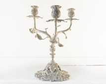 3 Arms Shabby Chic Candelabra  -  Shabby Chic Candle Holder