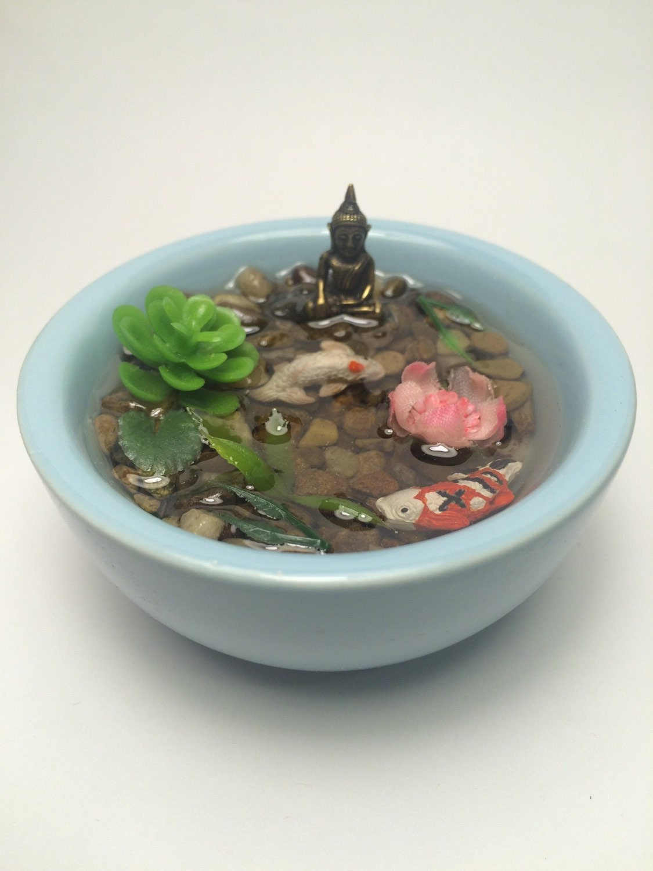 Resin koi fish pond with miniature bronze buddha pink for Resin koi fish