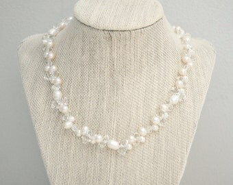 Freshwater Pearl Bridal Necklace, Pearl Necklace, Wedding Necklace, Freshwater Pearl Wedding Jewelry
