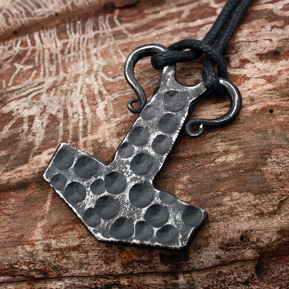Forged Iron Flat Dotted Texture Mjolnir Handmade Viking Thor