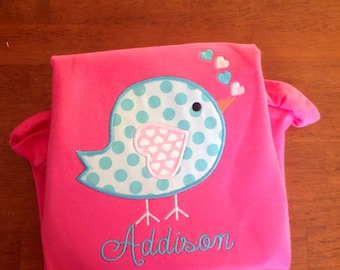 Applique bird with Hearts Valentine Ruffle Shirt