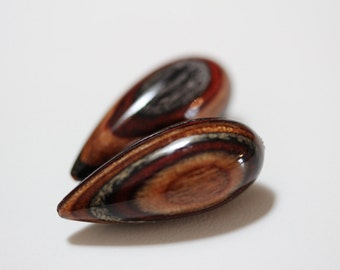 Black Forest beads.  Hand carved wood beads- large Matching pair.