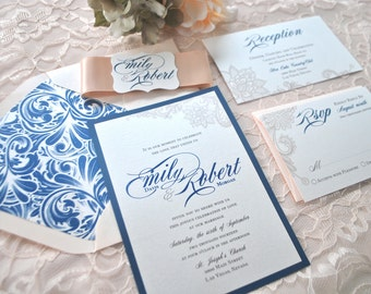 Navy Blue, Blush, Lace Wedding Invitation-Sophisticated- Sapphire, Pink (NOT A SAMPLE LISTING)- Color/Wording/material customizable