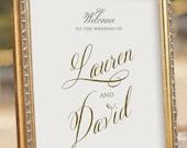 Gold Wedding Welcome Sign - printable PDF file