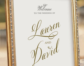 Gold Wedding Welcome Sign - printable PDF file