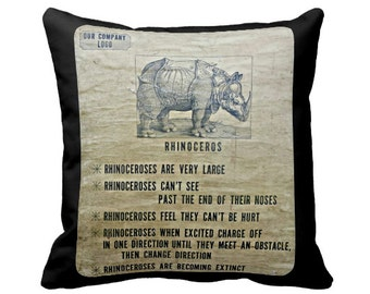 Photo Pillow, Novelty Pillow, Rhinoceros Pillow, Black Brown Pillow, Motivational Humor, rustic decor, Boho Chic Decor, Gifts for Him,
