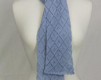 Cotton lace scarf, Dusty Blue, Hand knitted, Lightweight scarf, Feminine, Soft scarf, Elegant scarf, cotton scarf, blue scarf