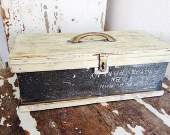 Vintage Wooden Military Box/ Chest/ Trunk-Old Primitive Storage Box Signed Gift For Him ~