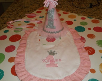 Girls  Birthday Hat And Bib Set -  Pink Princess Hat And Bib Set