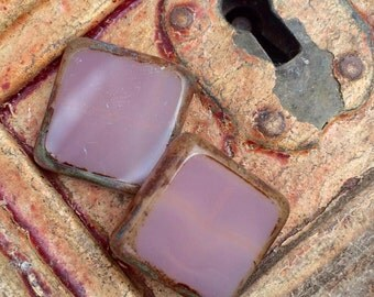 Czech Glass Beads 18mm  Square  Dusty Rose Picasso 2 pcs
