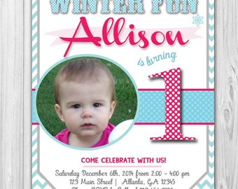 Winter Themed First Birthday Invitaitons with Insert Cards (Optional) - 10 Count with Envelopes