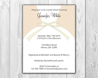 Bridal Shower Invitations - Dress in Cream (8 Count with Envelopes)
