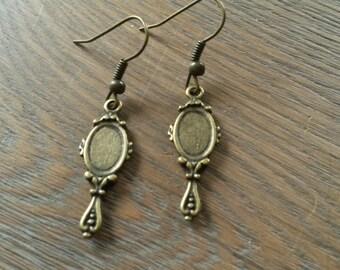 Cute mirror brass earrings, brass mirror earrings