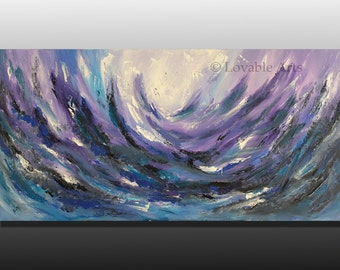 "ORIGINAL Purple blue sea Abstract Painting 48"" x 24"" purple blue white Modern lavender Contemporary purple Palette Knife textured fine art"