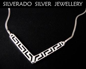 Sterling Silver 925 Greek Meander Key Fine Spiky Necklace 44.5 cm 17.35 inches