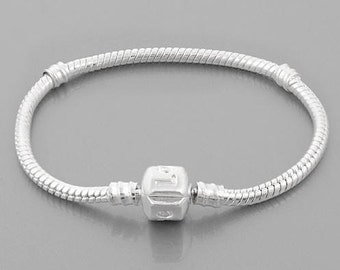 European Charm Bracelet Chain with Barrel Clasp - Sterling Silver Plated Bracelet For European Large Hole Beads - 23cm, 9.1in