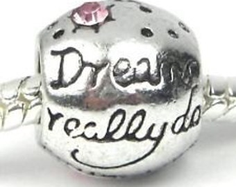 European Charm Bead For All Large Hole Charm Bracelet And Necklace Chain. Dreams, Pink  Stone, Summer Collection