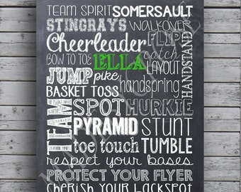Cheer Chalkboard Print - Personalize with Name and Team