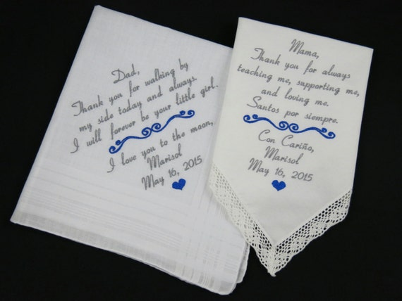 Wedding Gifts For Parents Handkerchief : Wedding Gifts for Parents of the Bride Embroidered Hankerchiefs Mother ...