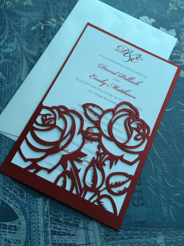 laser cut wedding invitations red roses wedding invitations