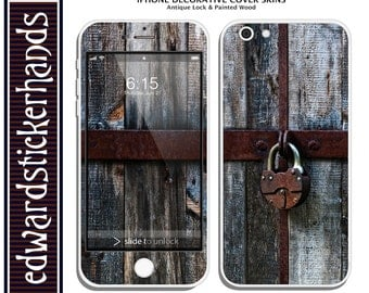 iPhone Decorative Cover Skins - Antique Lock & Painted Wood Pattern!