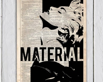 Madonna Material Girl, Dictionary Art Print, Upcycled Book Art, Silhouette, dictionary page Wall Decor, Wall Hanging, Mixed Media Art