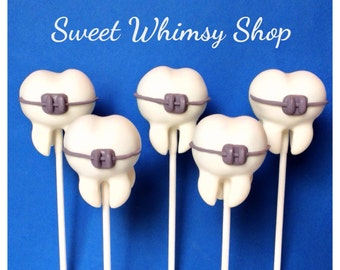 12 Teeth with Braces Cake Pops for Orthodontist, Dentist, Oral Surgeon, Dental Hygienist, Graduation, Wedding favor, sweet tooth office gift