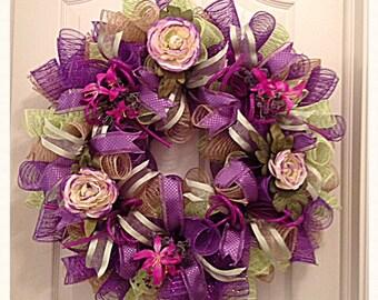 Purple Rose Deco Mesh Wreath/Purple, Burlap and Lime Wreath/Purple and Burlap Rose Wreath/Purple Wreath