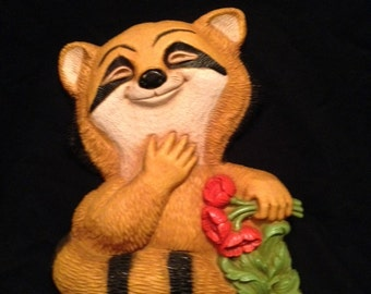 Vintage large plastic raccoon wall hanging plaque