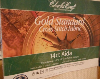 14 Count DMC CHARLES CRAFT Gold Standard Cross Stitch Aida Fabric Natural 12x18