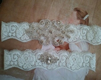 SALE - Wedding Garter, Bridal Garter Set - Crystal Rhinestone on a White Lace - Style G2310