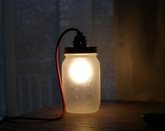 Table lamp Mason Jar lighting, frosted glass Jars