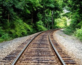 Railroad Photograph,Train Tracks, Railroad Tracks Rustic Fine Art Print,  Railroad Landscape Photography, Rustic Decor, Railroad Decor