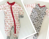 Custom personalized footed onesie for baby boy or girl. Perfect gift or take home outfit