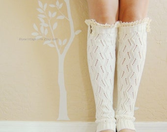 Birthday gift for her,Beautiful Lace  Leg Warmers, Ivory white leg warmer with cute cotton lace. leg warmers,boots long cuffs.Birthday gift
