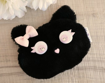 Portamonete gatto nero con fiocco rosa - Cat coin purse