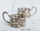Vintage Glass Holders - Set of 2 - Vintage Drinking set - Antique Decor - Wedding Decor - Party Decor