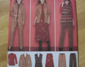 Simplicity 2287 Misses (Sizes 10, 12, 14, 16, 18) Jacket or vest, pants, skirt and knit top