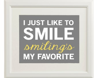 Instant Digital Download - Elf Quote - Smiling's My Favorite - Gray, White, Yellow, Green, Red, Blue