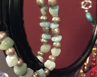 Blue and Sliver Rock Beaded Bracelet