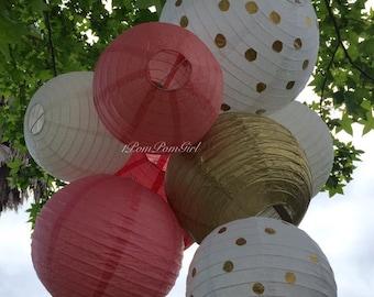 GOLD PAPER LANTERNS / wedding decorations, birthday decor, bridal shower, nursery decor, graduation, anniversary, wedding lanterns