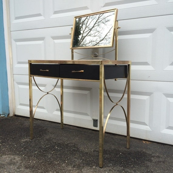 On hold eve mid century modern vanity glass brass makeup for Glass makeup table