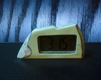 LCD Alarm Clock with stone housing (Green, Black and White)