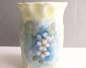 Vintage Tiny Blue and Yellow Floral Hand Painted Posey Vase, Home Decor Vase For Flowers, Vintage Blossom Holder Signed JW