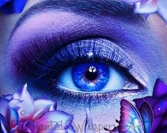 beautful surreal blue eye with tear art print