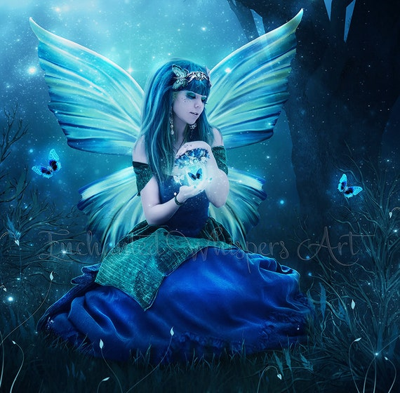 Blue fairy print, Blue fairy artwork, beautiful fairy painting, magical fae, magic jar, fairy wings, fairy decor, fantasy art, blue artwork