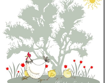 Hen & Chicks Happy Easter Greeting Card