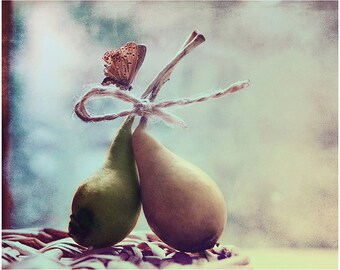 Still life Food Kitchen decor Fine art Photography Pears and Butterfly Turquoise Sepia Color Rustic wall decor Love Dreamy Modern home art